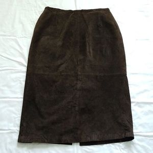 Brown Genuine Suede Leather Maxi Skirt- Plus Size